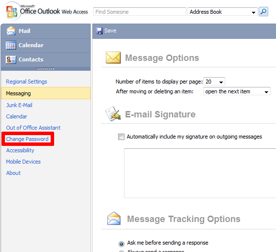 outlook 365 how to change password