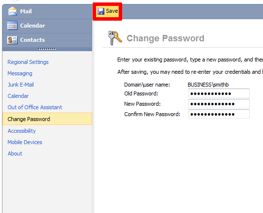how to change password in mobile outlook